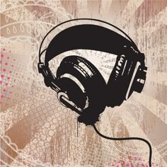 Radiant grunge headphones abstract background