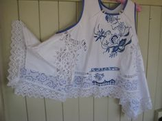 Crispy White Over Top,Plus Size, Blue Hand Embroidery, Upcycled Clothing, Altered Couture.