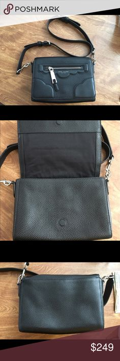 MARC JACOBS Scallop Leather Crossbody  Black Haze Mint condition. I used it for a week and it was just too small for me. Great condition. Comes with dust bag, not pictured. Marc Jacobs Bags Crossbody Bags