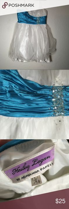 Hailey Logan short prom dress White and turquoise with sequin detail. Worn one for senior prom! Size 13/14 Hailey Logan Dresses Prom