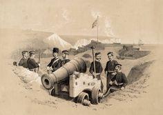 """British artillery emplacement, Crimean War"" by unnown artistk Crimean War, Tsar Nicholas, Imperial Russia, Ottoman Empire, British Army, Sardinia, Family History, 19th Century, Battle"