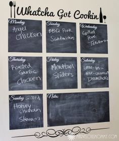 Chalkboard wall for meal planning