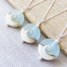 Beach wave necklaces, set of 3, now available in my shop. Perfect for a beach wedding!