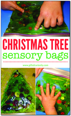Christmas tree sensory bags - enjoy some Christmas sensory play with just a few simple materials Christmas Activities For Toddlers, Preschool Christmas, Toddler Christmas, Holiday Activities, Baby Christmas Crafts, Summer Activities, Family Activities, Holiday Crafts, Christmas Tree Bag