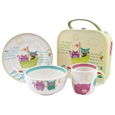 A beautiful breakfast set adorned with imaginative and colourful artwork featuring the well known and beloved Owl and the Pussycat poem by Edward Lear. £21.95
