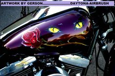 Cats eyes and rose custom airbrushed by Henry Gerson of Daytona-Airbrush...check us out on facebook!!