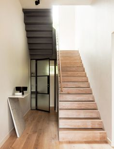 A former corner pub in inner-city Melbourne becomes a family home after a smart renovation by interior designers Hecker Guthrie. Interior Stairs, Interior Architecture, Interior Design, Hecker Guthrie, Timber Stair, White Wall Tiles, Inside Home, Blog Deco, Contemporary Interior