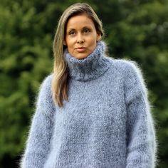 Designer Hand Knitted Mohair Sweater Fuzzy Black Grey Pullover by EXTRAVAGANTZA #EXTRAVAGANTZA #Turtleneck