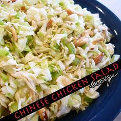 Chinese Chicken Salad From Vicki Gunvalson #chicken #salad #dinner  Ingredients: 1 pkg of finely shredded cole slaw (in pre-pkg lettuce section) ½ c cashews (more or less depending on what you like) 2 pkgs Raman noodles (chicken flavor) Green onions (cut up) 1 whole warm rotisserie chicken from deli  Dressing: 2/3 c. vegetable oil 2 seasoning packets in pkg of Roman noodles 2 Tbsp vinegar 4 Tbsp sugar  Directions:  Break package in ...