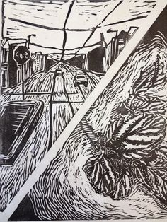Megan Hendry, my part of a group project in Relief Printmaking, hand printed linoleum cut, Spring 2012