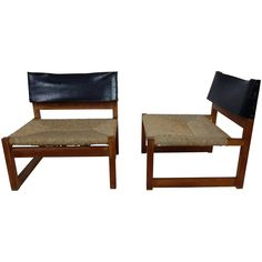 Pair of Leather and Rush Seated Lounge Chairs by Javier Carvajal | 1stdibs.com