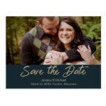 Dark Teal Gold Handlettered Photo Postcard #weddinginspiration #wedding #weddinginvitions #weddingideas #bride