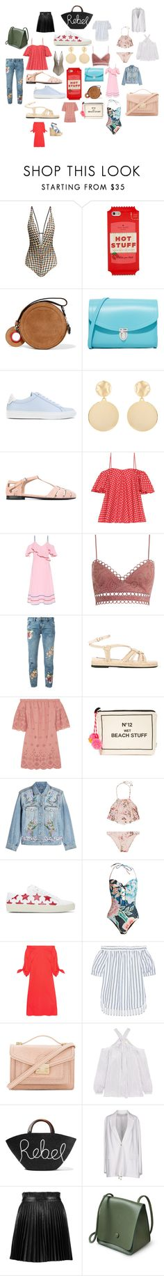 """Untitled #304"" by kaylee-woolsey ❤ liked on Polyvore featuring Missoni Mare, Kate Spade, Carven, The Cambridge Satchel Company, Givenchy, Mounser, Church's, Anna October, Zimmermann and OneTeaspoon"