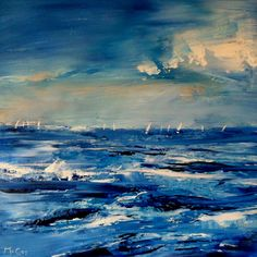 Artwork: Painting of a yacht race with the boats in the distance. The waves are crashing in the wind and the clouds blowing accross the sky.  MATERIALS: Finest quality high grade professional oil paints on stretched canvas. Finished with a glaze of Lefranc and Bourgeoise fine quality UV picture varnish to protect against sunlight and dust damage. The edges of the canvas are painted white.  ARTIST: Kirstin McCoy's Art is featured in collections Worldwide.  Kirstin McCoy exhibits both na...