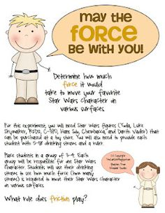 Forces and friction experiment using Star Wars characters...FREE download!