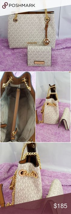 Michael Kors Jet Set Chain Vanilla Messenger + wal Price is for both Michael Kors Jet Set Gold Chain Vanilla Messenger /Tote  + BiFold Wallet/ Card flap  New with tags   Medium size Crossbody.   All pictures are actual products.  What you see is what you get. Michael Kors Bags Totes