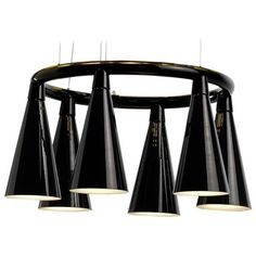 Komori by Nendo, Chandelier Reminiscent of Bats, Murano Glass Blown Glass Chandelier, Black Chandelier, Chandelier Pendant Lights, Modern Chandelier, Chandeliers, Hanging Upside Down, Linear Lighting, Murano Glass, Glass Shades