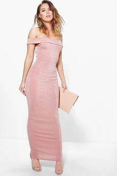 Arbella Textured Slinky Off The Shoulder Maxi Dress by Boohoo. Get dance floor-ready in an entrance-making evening dressLook knock-out on nights out in figure-skimming bodycon fits...