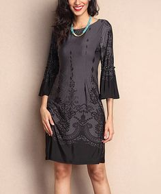 $29.99 Another great find on #zulily! Charcoal Scroll-Print Bell-Sleeve Shift Dress #zulilyfinds
