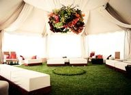 Love this floral chandelier and big white tent for an outdoor #wedding! #celebstylewed