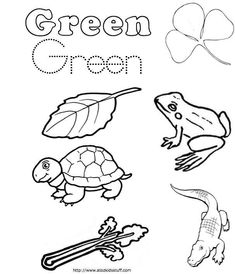 Kids Work Pages on Preschool Color Green