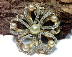 Brooch Faux Pearl And Rhinestone Two Tone by HeyThatsAwesome