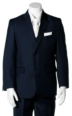 1e770f810e Boys Navy Communion Suit with a White Clergy Pattern Dress Tie and Pocket  Square Communion Suits