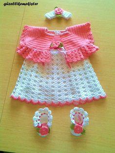 Выходной наряд для новорожденной девочки - Вязание новорожденным девочкам - Вязание для новорожденных - Схемы и модели - Вяжем вместе