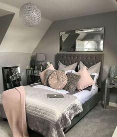32 Interesting Cute And Girly Pink Bedroom Design For Your Home Minimalist Bedroom Bedroom Cute Design Girly Home Interesting Pink Pink Bedroom Design, Girl Bedroom Designs, Bedroom Themes, Bedroom Colors, Home Decor Bedroom, Bedroom Furniture, Furniture Ideas, Pink Gray Bedroom, Gray Furniture