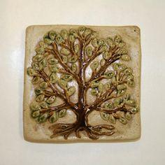 4x4 Tree handmade ceramic tile on Etsy, $26.00