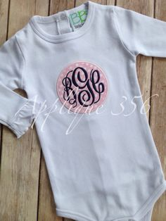 Infant Gown or Bodysuit with Circle Patch Applique by Applique356