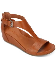 Gentle Souls by Kenneth Cole Women's Gisele Wedge Sandals - Cognac