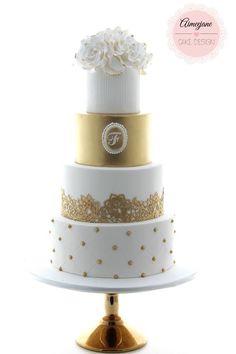 Gold and White Wedding Cake - Aimeejane Cake Design