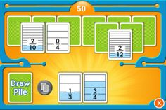 The Equivalent Fractions game by McGraw Hill offers a quick and easy way to practice and reinforce fraction concepts and relationships. This game runs on the iPad, iPhone, and iPod Touch. Players try to match equivalent fractions on cards showing halves, thirds, fourths, fifths, sixths, eighths, tenths, and twelfths. When cards are matched, they disappear and points are awarded.