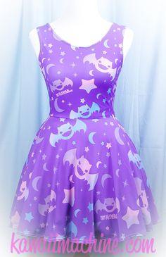 Graveyard Shift Printed Skater Dress (Bats, Moons, Stars) Fairy Kei Pastel Goth Kawaii
