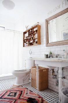 Trend Alert: Persian Rugs in the Bathroom via @domainehome