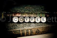 COFFEE Vintage Typewriter Keys Fine Art by lilacpopphotography, $30.00