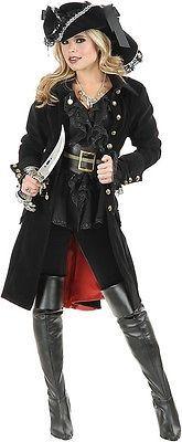 "New Women's Pirate Costume Accessory ""Pirate Vixen"" Pirate Coat Grey Large"