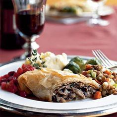 Mushroom and Caramelized-Shallot Strudel    Mushrooms recreate the savory taste of meat in this rich dish.    Ingredients: Shallots, sugar, mushrooms, Marsala, low-fat sour cream, parsley, thyme, phyllo dough, breadcrumbs, butter