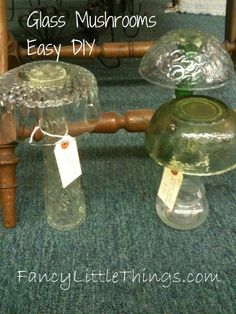 DIY Glass Mushroom making made easy. Painted with glow in the dark spray paint. Invisible during the day and glows at night. Or a solar light inside. Glass Garden Flowers, Glass Garden Art, Glass Art, Garden Crafts, Garden Projects, Garden Ideas, Glass Mushrooms, Garden Mushrooms, Glow Paint