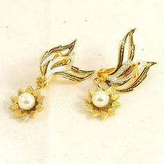 Vintage Damascene Earrings Spanish Style Pearl Drop by Revvie1, $10.00