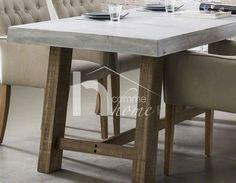 Table à manger industrielle en béton et bois RACINE