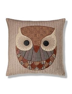 Owl applique pillow Pinned by www.myowlbarn.com