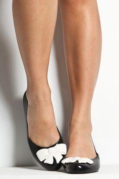 Black ballet flats w/white bow, adorable! Black Ballerina, Ballerina Flats, Ballet Flats, Wedge Boots, Shoe Boots, Cute Shoes, Me Too Shoes, Jean Paul Gaultier, Vivienne Westwood