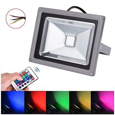 AURORA AUSTRALIS 10W RGB LED Flood Lights, Color Changing LED Security Light, 16 Colors & 4 Modes, Waterproof LED Floodlight, Wall Washer Light, Remote Control 110V 85-240V AC (RGB, 10W)