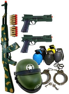 Ultimate Kids Toy Army Combat Set with Ak47 Guns, Grenades, & Handcuffs