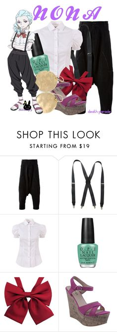 """""""Nona, from Death Parade"""" by blackrabbitmegapig ❤ liked on Polyvore featuring Société Anonyme, Stacy Adams, D&G and OPI"""