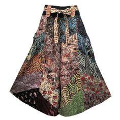 Boho Hippie Patchwork Cotton Wide Leg Tie Waist Capris Gaucho Pants - EK463
