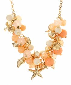 Look at this Coral & Gold Sealife Cluster Necklace on #zulily today!