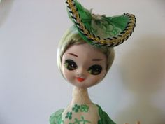 Big Eyed Doll. Bradley-Type boudoir doll. Poseable Southern Belle Stockinette. Green dress.